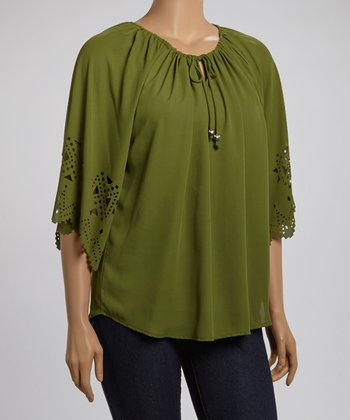 Olive Cutout Detail Peasant Top - Plus