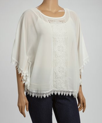 Ivory Crocheted-Panel Top - Plus