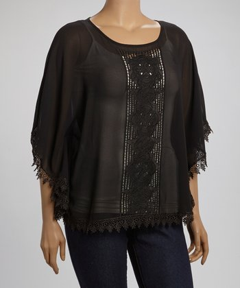 Black Crocheted-Panel Top - Plus