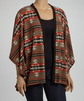 Brown & Rust Tribal Open Cardigan - Plus