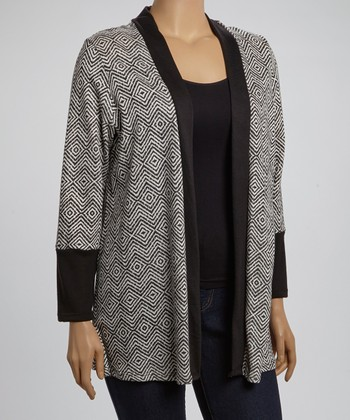 Black & White Geometric Open Cardigan - Plus