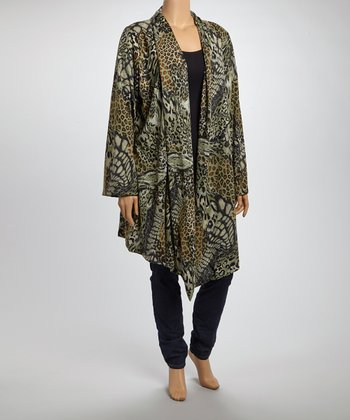 Green Animal Open Cardigan - Plus
