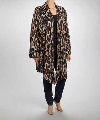 Brown Abstract Spot Open Cardigan - Plus