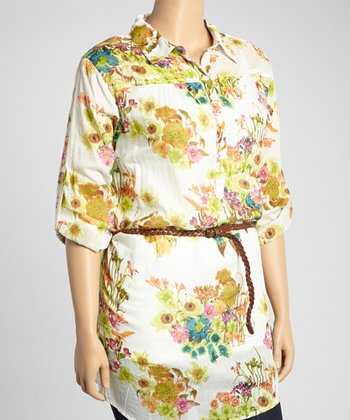 Blue & Green Floral Henley Tunic - Plus