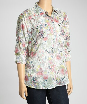 Ivory & Purple Floral Henley Top - Plus