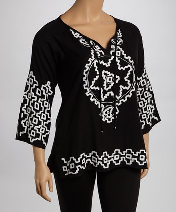 Black & White Abstract Peasant Top - Plus