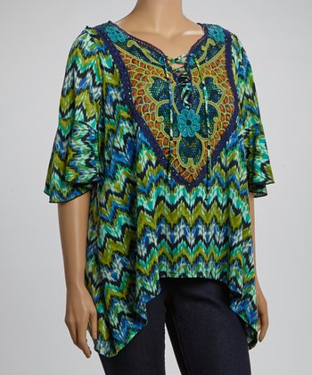 Blue & Jade Zigzag Floral Yoke Top - Plus