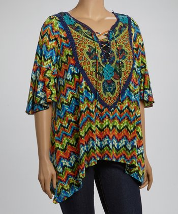 Green & Orange Zigzag Floral Yoke Top - Plus