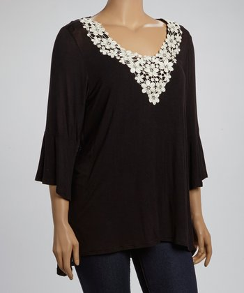 Black & White Floral Lace Top - Plus