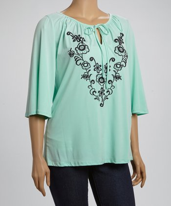 Mint Green & Black Floral Peasant Top - Plus