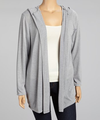 Heather Gray Hooded Open Cardigan - Plus
