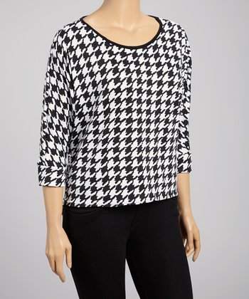 White & Black Lace-Back Houndstooth Top - Plus