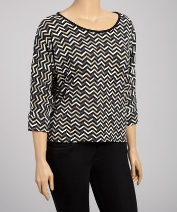 Black & White Lace-Back Zigzag Top - Plus
