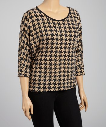 Tan & Black Lace-Back Houndstooth Top - Plus