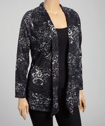 Gray & Black Leopard Open Cardigan - Plus