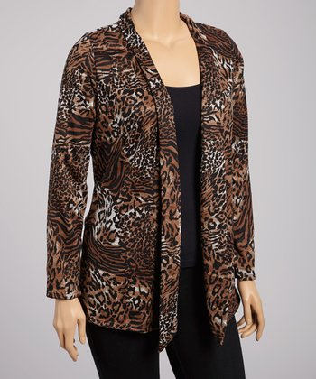 Brown & Black Leopard Open Cardigan - Plus