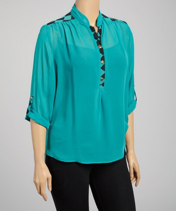 Jade & Black Checkerboard-Trim Top - Plus