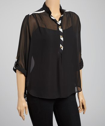 Black & White Sheer Zigzag Top - Plus