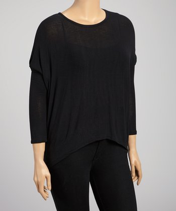 Black Sidetail Top - Plus