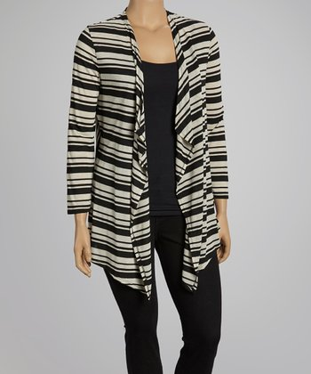Black & Ivory Stripe Open Cardigan- Plus