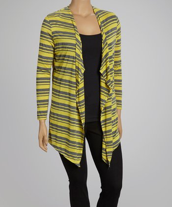 Yellow & Charcoal Stripe Open Cardigan- Plus