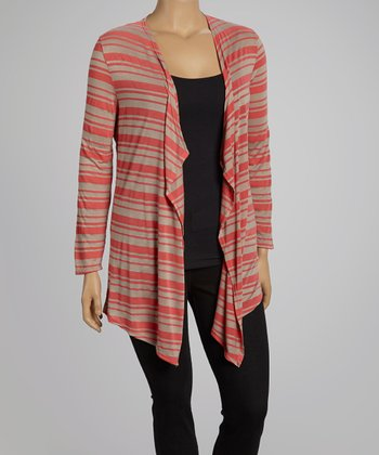 Coral & Taupe Stripe Open Cardigan- Plus