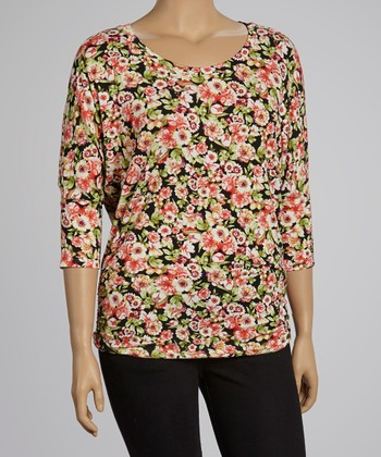 Black & Coral Floral Top - Plus