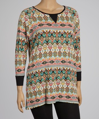 Black & Coral Tribal Tunic - Plus