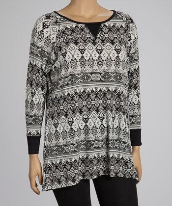 Black & Gray Tribal Tunic - Plus