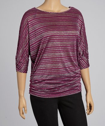 Purple Stripe Top - Plus