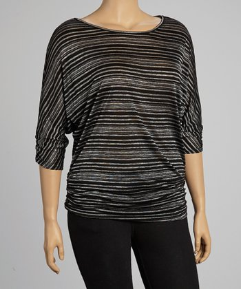 Black Stripe Top - Plus