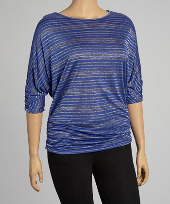 Royal Blue Stripe Top - Plus
