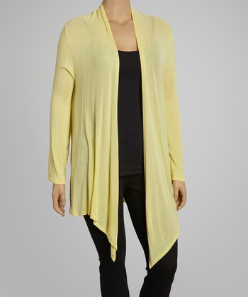 Yellow Open Cardigan- Plus