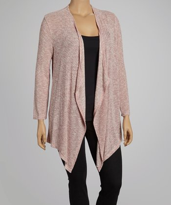 Heather Red Open Cardigan - Plus
