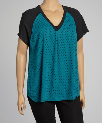 Teal Polka Dot V-Neck Top - Plus