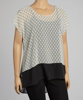 Ivory & Black Sheer Top - Plus