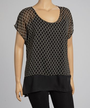 Black & Ivory Sheer Top - Plus