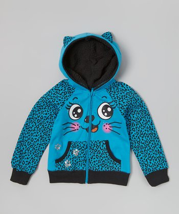Blue Leopard Kitty Zip-Up Hoodie - Girls