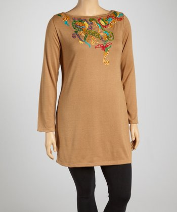 Beige Serpentine Scoop Neck Tunic - Plus