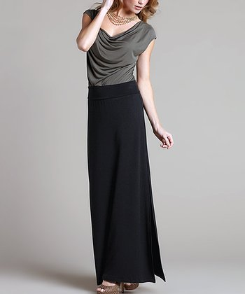 Black Marrakesh Slit Maxi Skirt