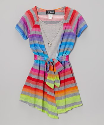 Blue Stripe Layered Top - Girls