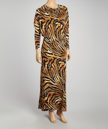 Brown & Beige Animal Deep-V Maxi Dress - Women