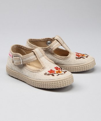 Linen Three Flower Linen T-Strap Shoe