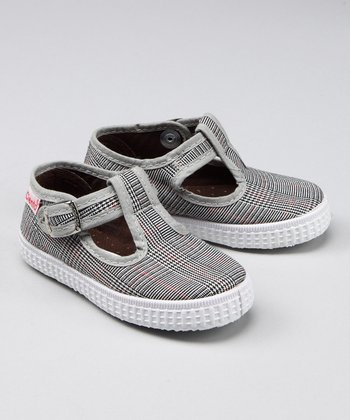 Black Plaid T-Strap Shoe