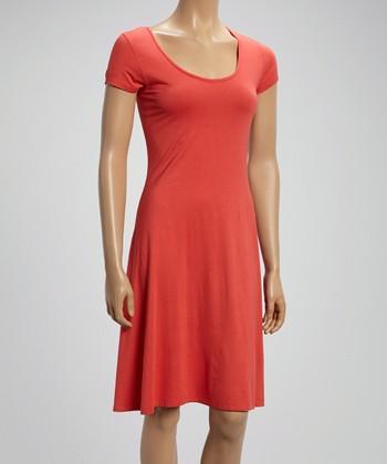 Coral Scoop Neck Shift Dress