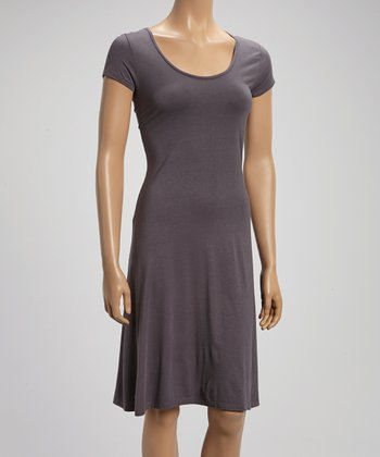 Slate Gray Scoop Neck Shift Dress