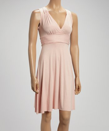 Tea Rose Pleated V-Neck Dress