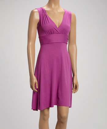 Orchid Pleated V-Neck Dress