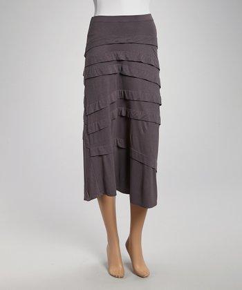 Slate Gray Diagonal Tier Skirt