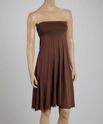 Bronze Lace-Trim Convertible Midi Skirt